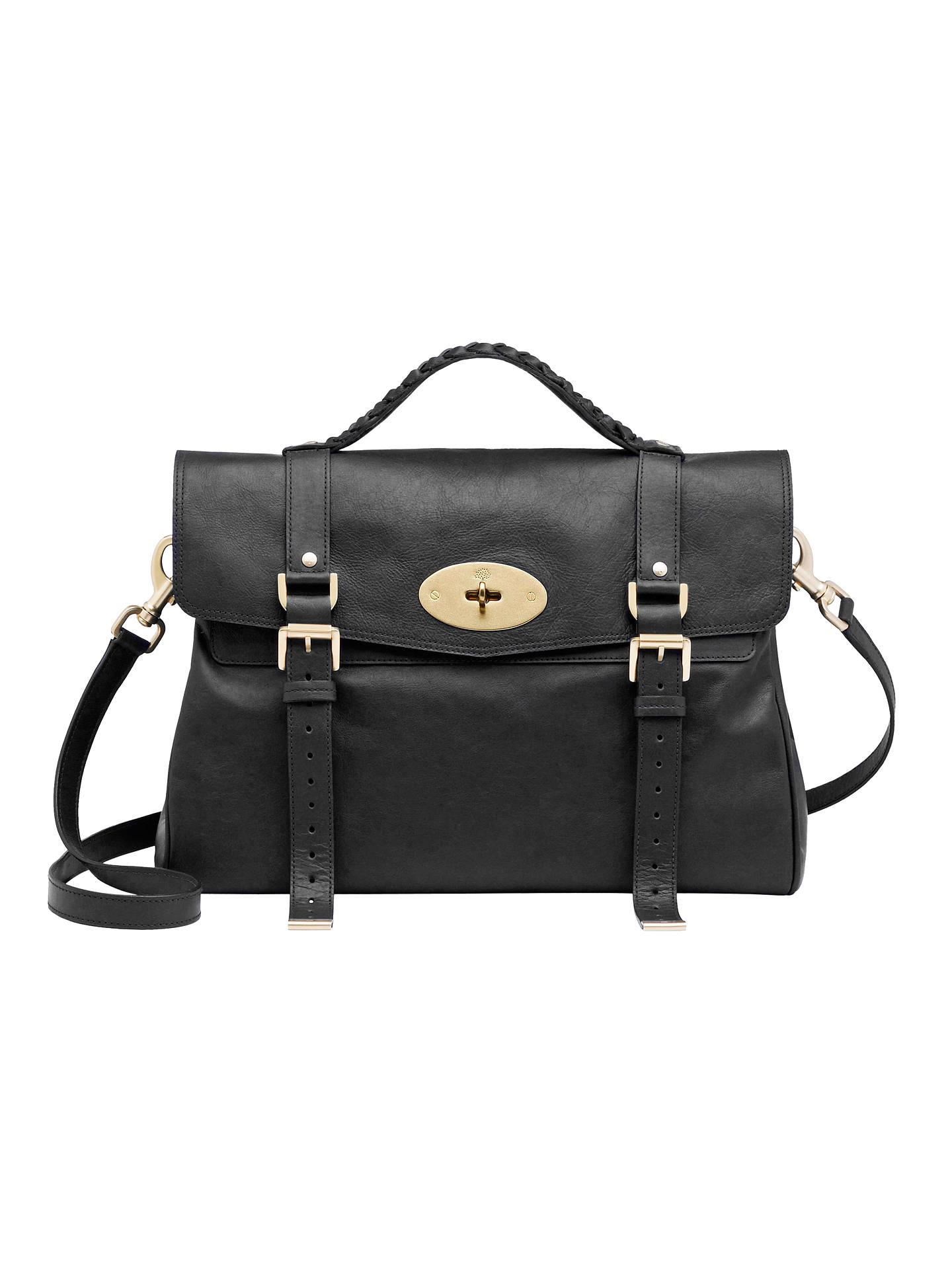 bf2f87edce Buy Mulberry Oversized Alexa Messenger & Shoulder Handbag, Black Online at  johnlewis.com