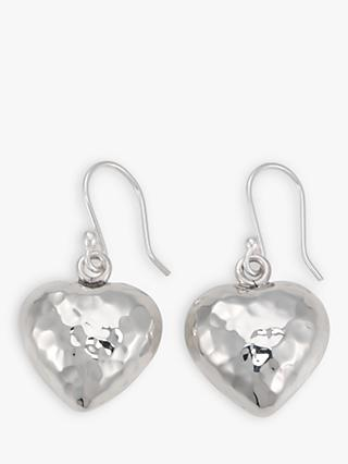 Andea Hammered Puffed Heart Drop Earrings, Silver