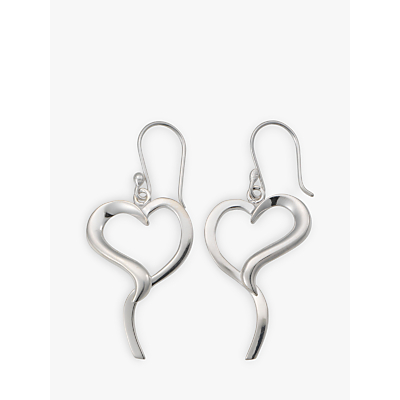 Image of Andea Silver Open Pointed Heart Earrings