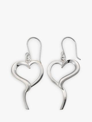 Andea Silver Open Pointed Heart Earrings