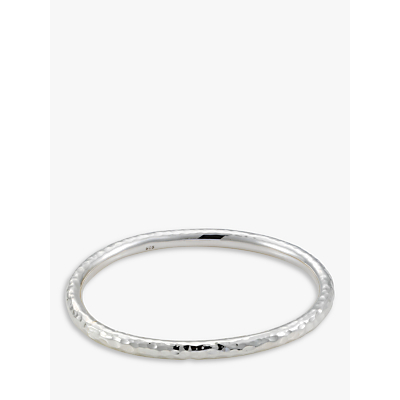 Andea Hammered Silver Oval Bangle