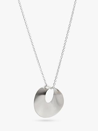 Andea Round Open Twist Pendant Necklace, Silver