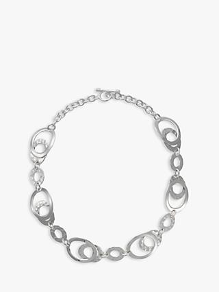 Andea Silver Hammered Oval Link Necklace