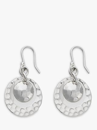 Andea Round Silver Disc Drop Earrings