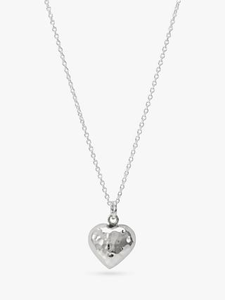 Andea Silver Hammered Puffed Heart Pendant Necklace