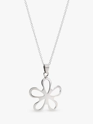 Andea Silver Cut Out Flower Pendant Necklace