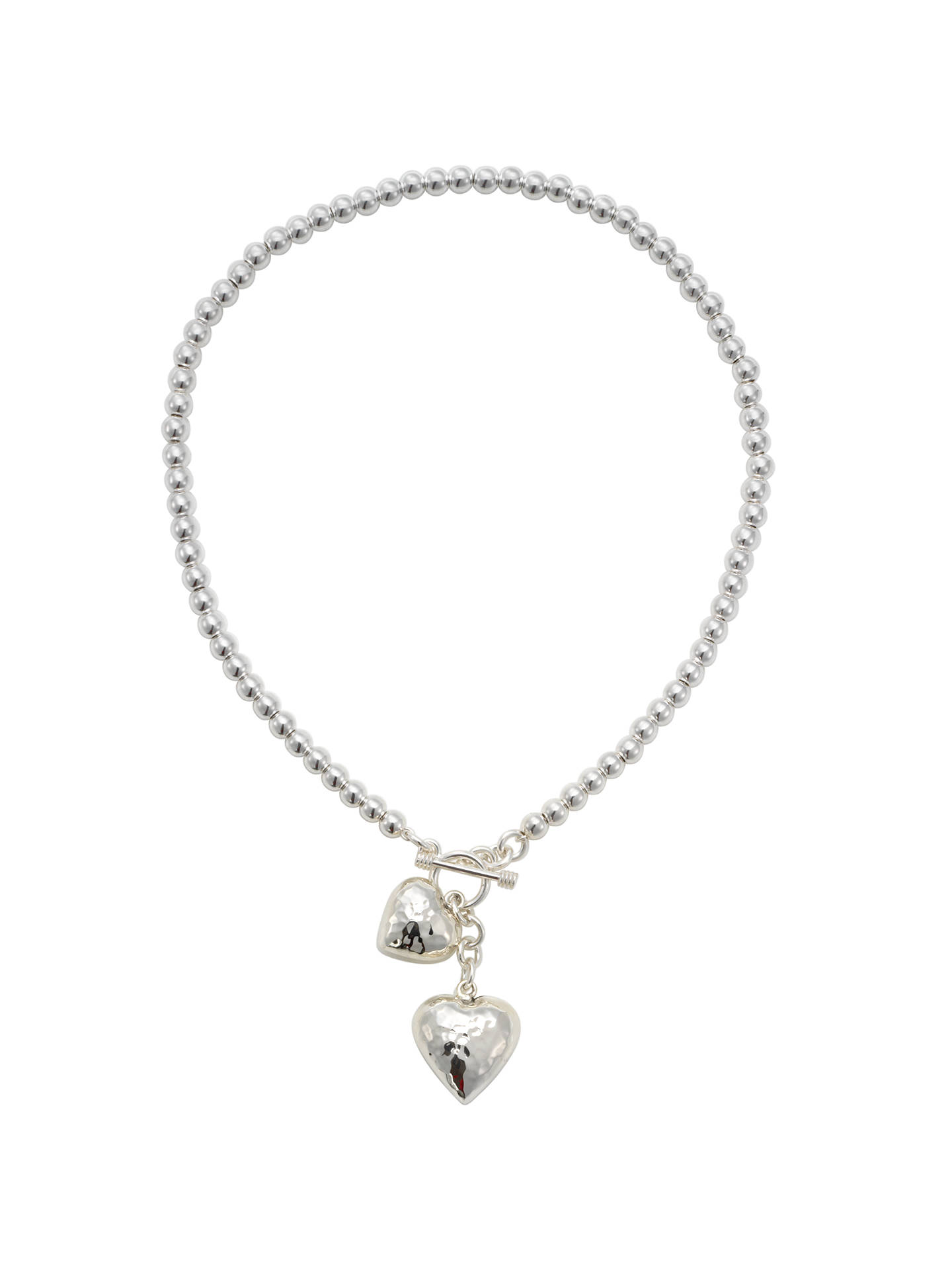 Buy Andea Silver Round Bead Necklace with Heart Charms Online at johnlewis.com