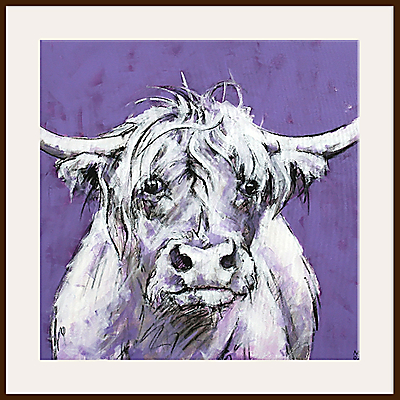Bull On Purple Print