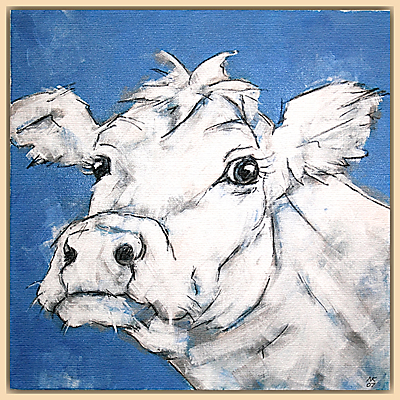 Nicola King – Cow On Blue
