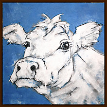 Buy Nicola King - Cow On Blue Online at johnlewis.com