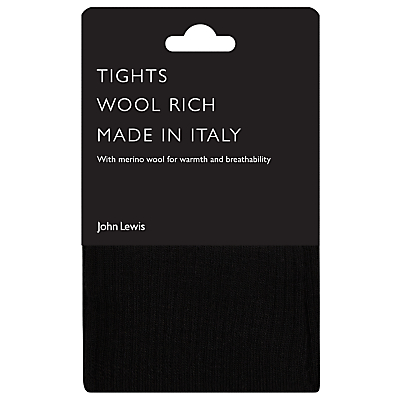 John Lewis Wool Ribbed Opaque Tights