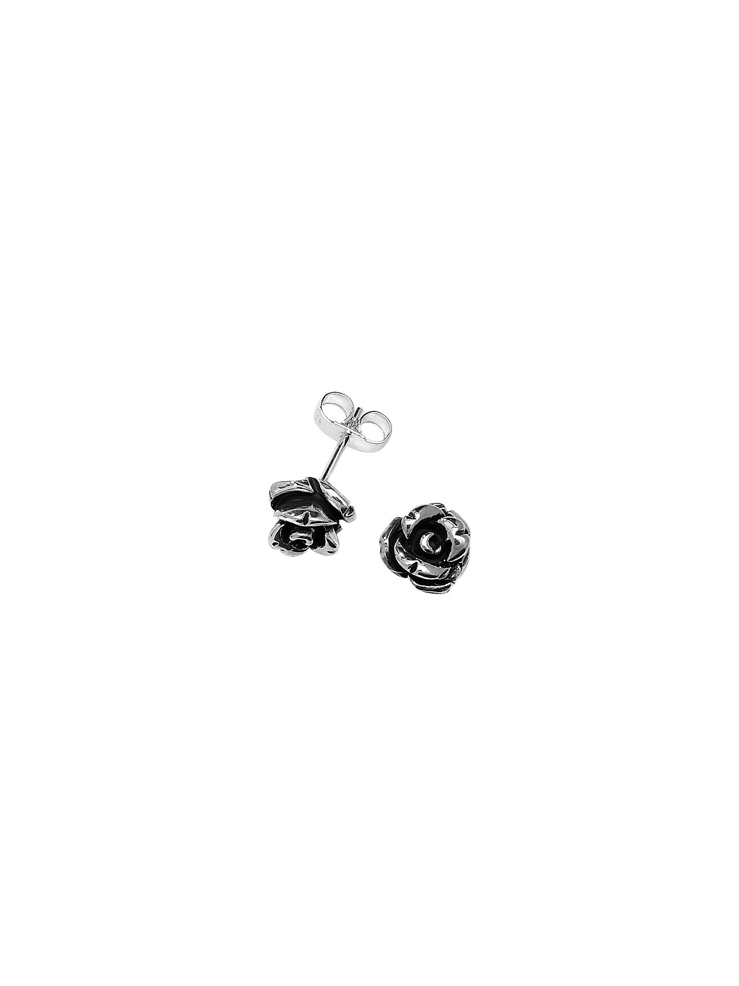 a6b96d490 Buy Linda Macdonald Oxidised Silver Rose Stud Earrings Online at  johnlewis.com