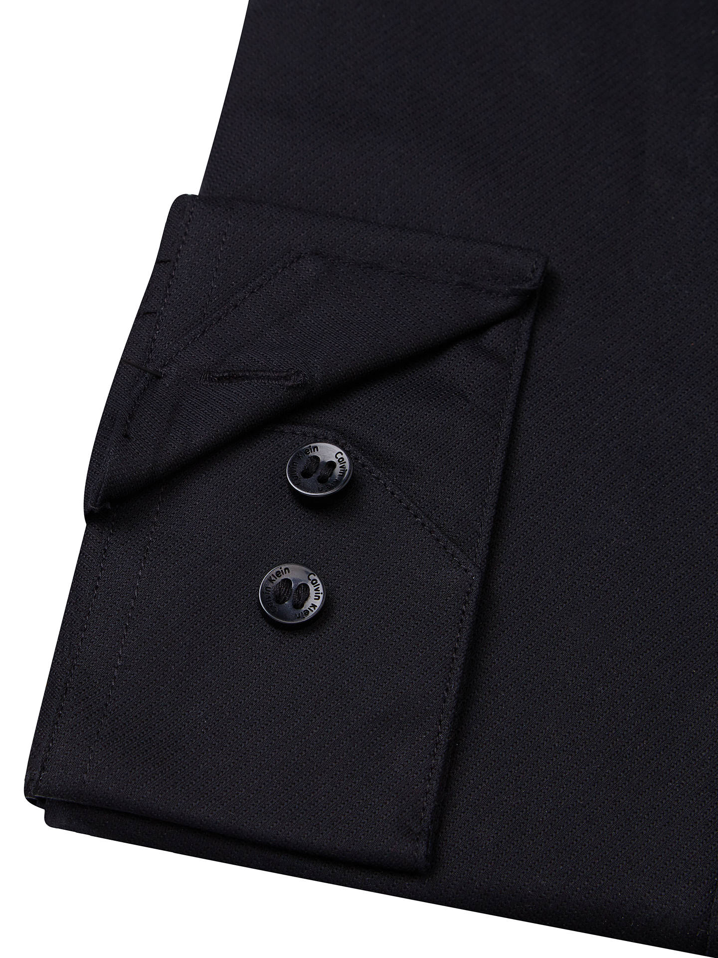 BuyCalvin Klein Cannes Poplin Fitted Shirt, Black, 15 Online at johnlewis.com