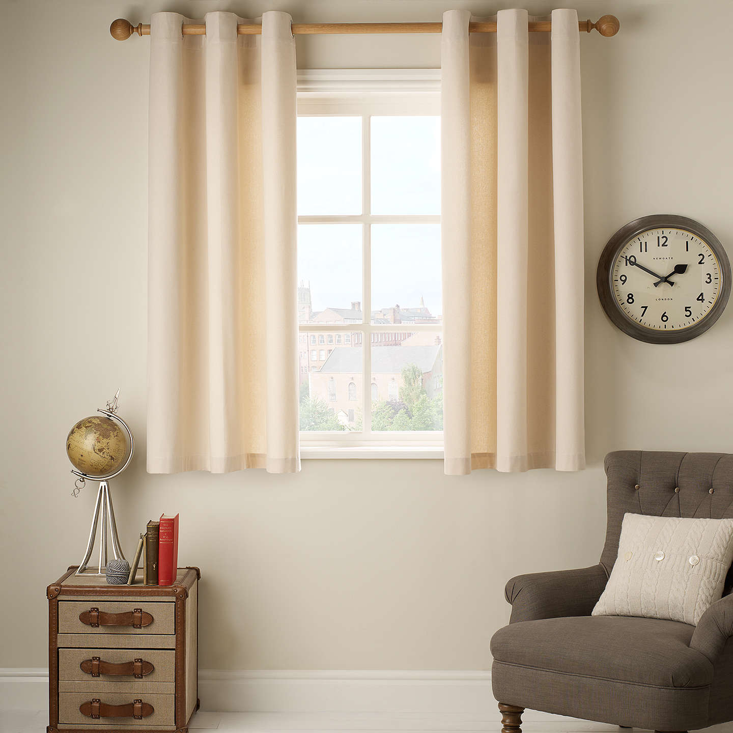 BuyJohn Lewis The Basics Pair Plain Cotton Unlined Eyelet Curtains, Natural, W130 x Drop 228cm Online at johnlewis.com