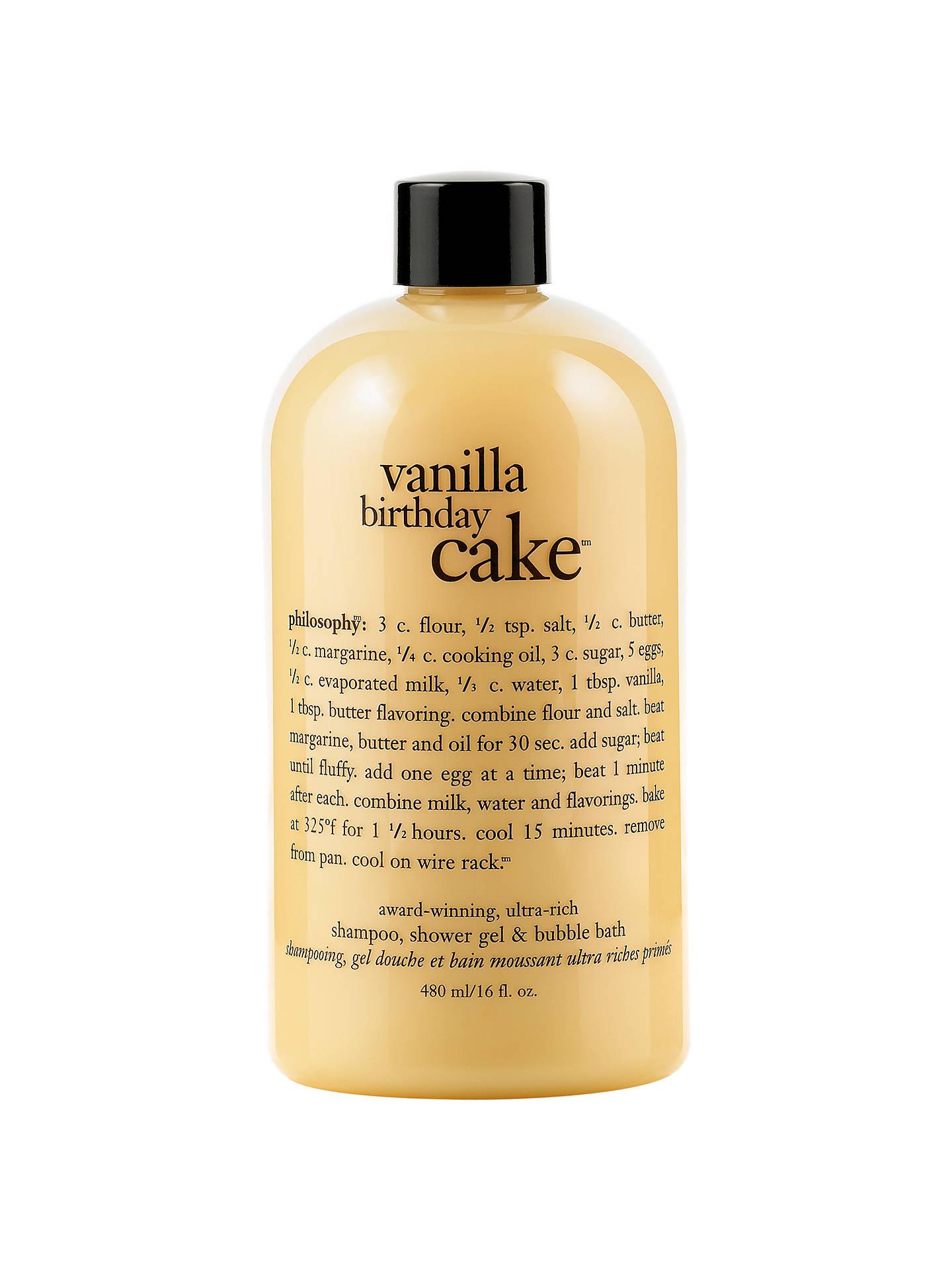Buy Philosophy Vanilla Birthday Cake 3 In 1 Shower Gel 480ml Online At Johnlewis