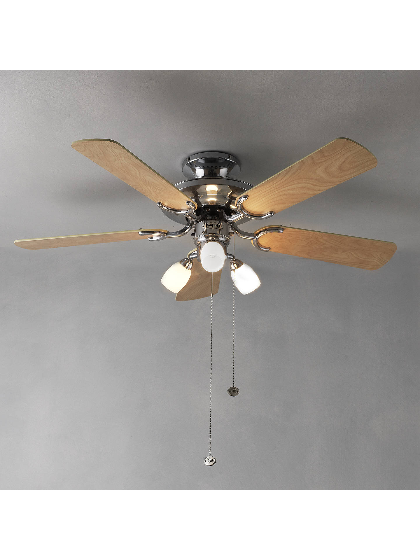fantasia mayfair ceiling fan and light stainless steel at. Black Bedroom Furniture Sets. Home Design Ideas