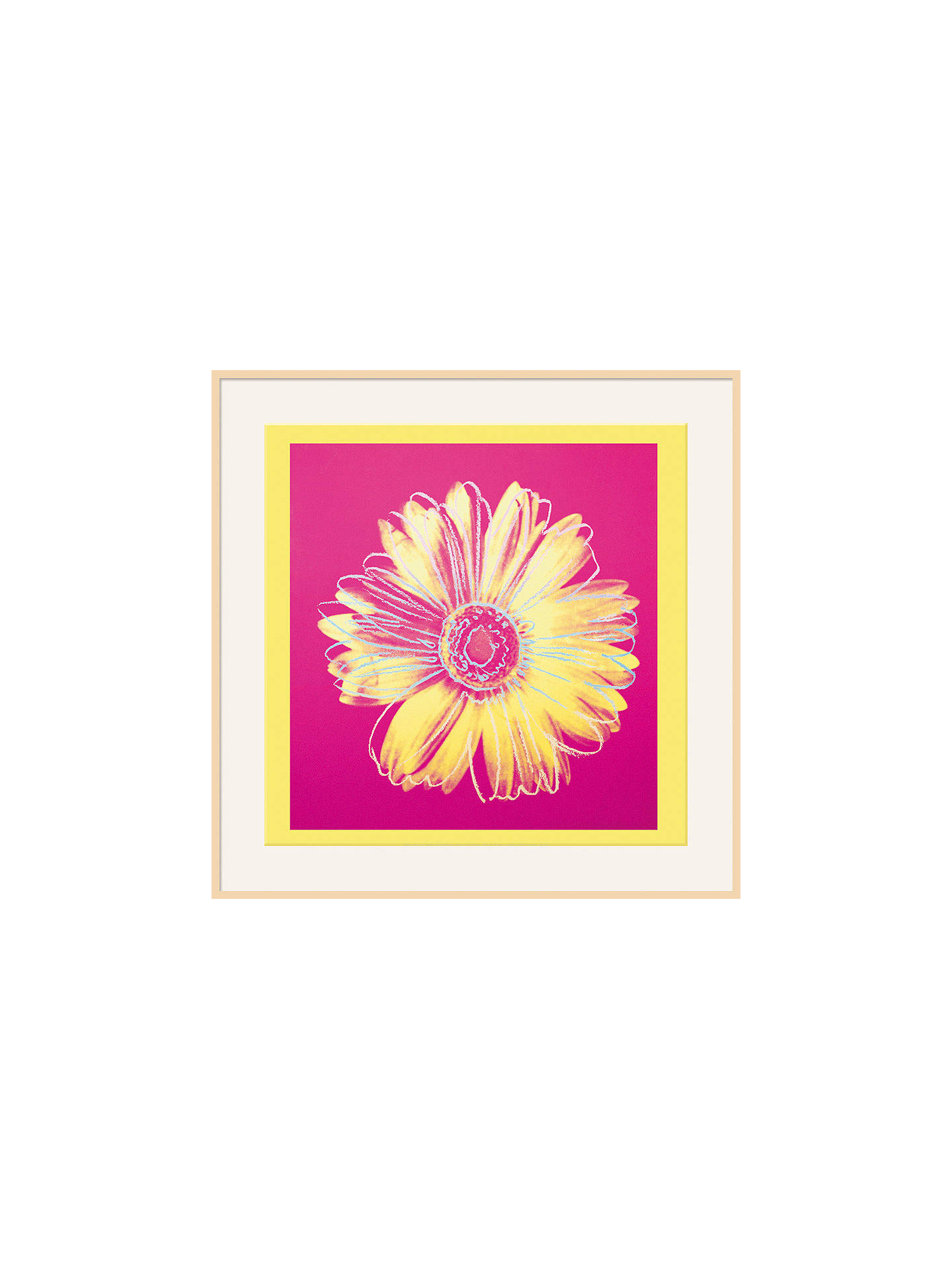 Buy Warhol - Daisy 1982, Yellow on Pink, Natural Ash Framed Print, 110 x 110cm Online at johnlewis.com