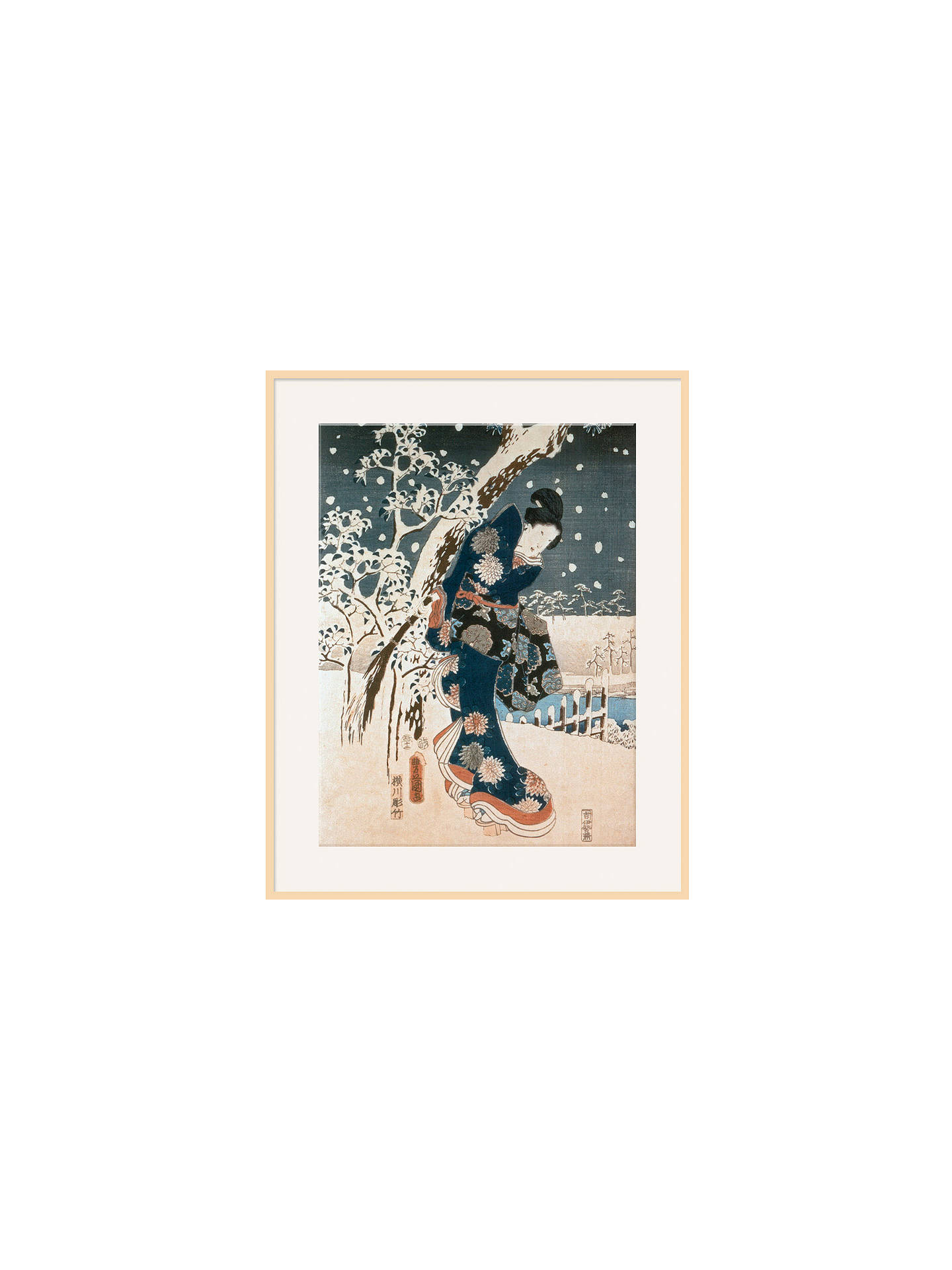 BuyAndo Hiroshige - Snow Scene, Natural Ash Framed Print, 40 x 50cm Online at johnlewis.com