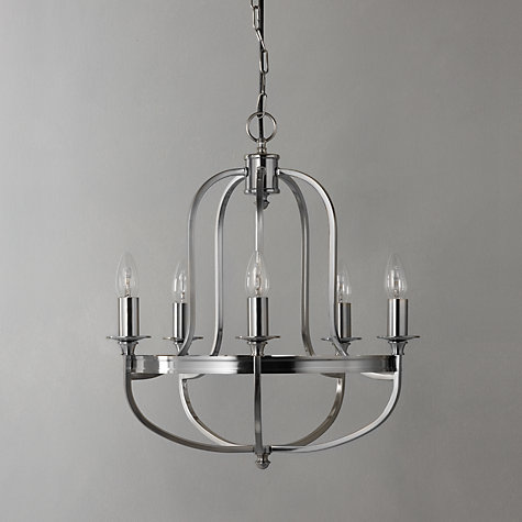 Buy John Lewis Warwick Chandelier, Brushed Chrome, 5 Arm Online at johnlewis.com