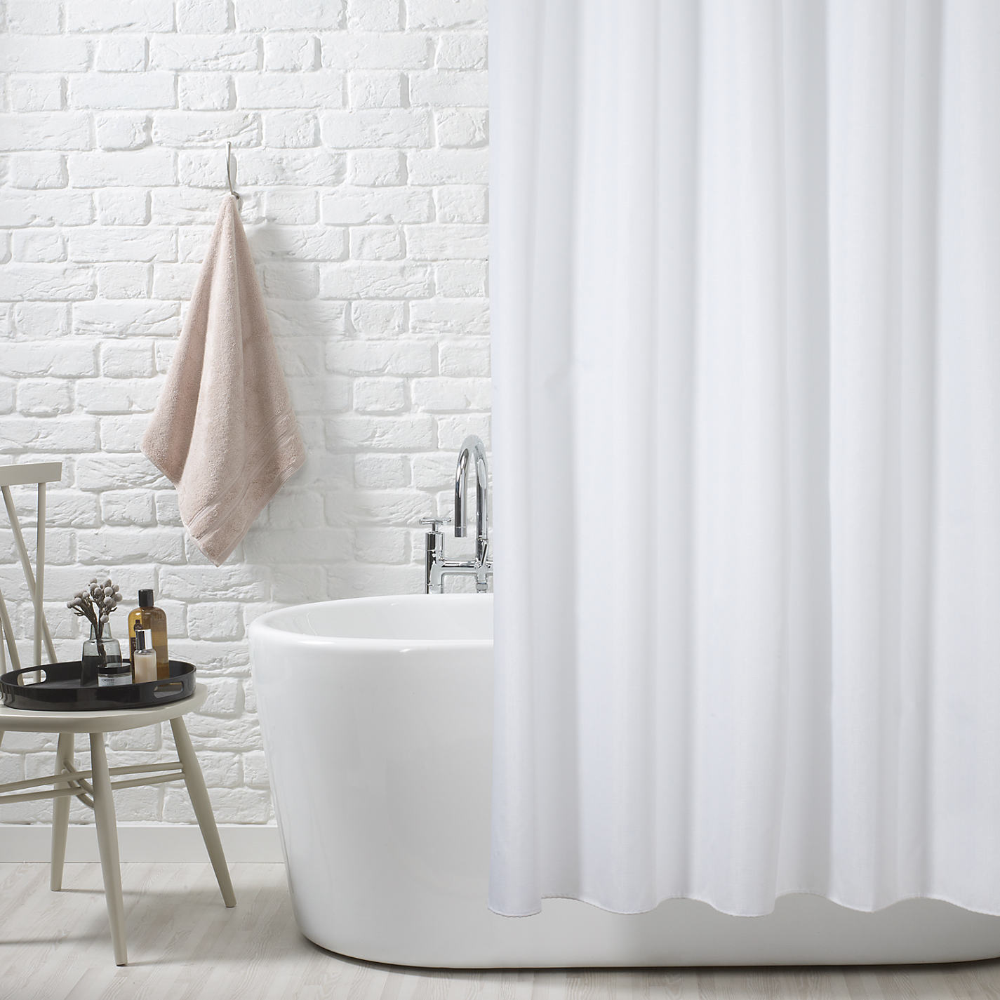 Buy John Lewis Slub Shower Curtain White Online At Johnlewis