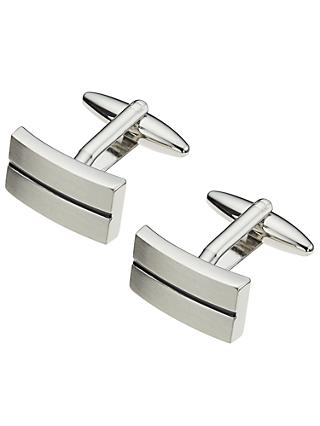 John Lewis & Partners Stripe Oblong Cufflinks, Black