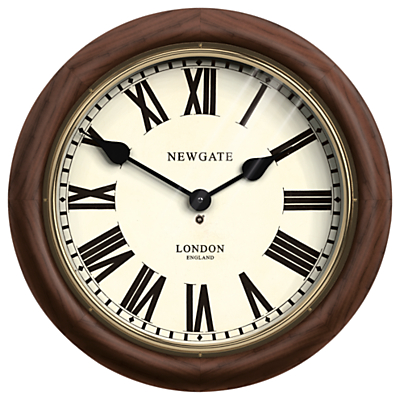 Newgate King's Cross Wood Wall Clock, Dia.50cm, Brown