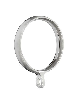 John Lewis & Partners Brushed Steel Curtain Rings, Pack of 6, 25mm