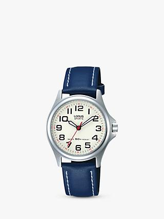 Lorus RRS55VX9 Children's Round Dial Leather Strap Watch, Blue