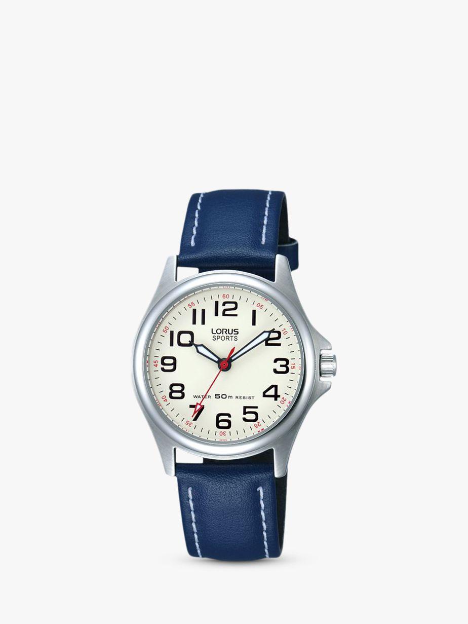 Lorus Lorus RRS55VX9 Children's Round Dial Leather Strap Watch, Blue
