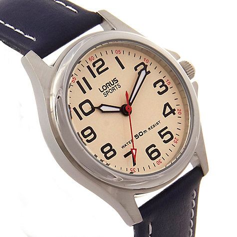 Buy Lorus Children's Round Dial Leather Strap Watch Online at johnlewis.com