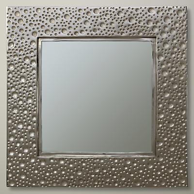 John Lewis Lunar Square Mirror, 60 x 60cm, Silver