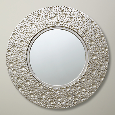 John Lewis Lunar Round Mirror, Dia.59cm, Silver