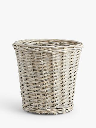 ANYDAY John Lewis & Partners Wicker Waste Paper Bin, Grey Wash