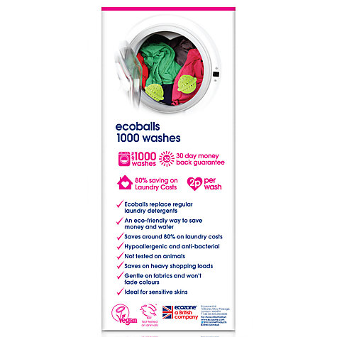 Buy Ecozone Hypoallergenic, Antibacterial Ecoballs, 1000 washes Online at johnlewis.com