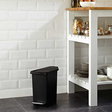 Buy simplehuman Slim Plastic Pedal Bin, Black, 25L Online at johnlewis.com