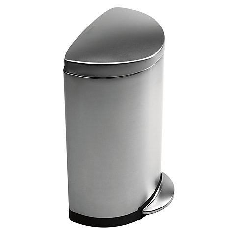 Buy simplehuman semi round pedal bin brushed stainless for Poubelle salle de bain brabantia