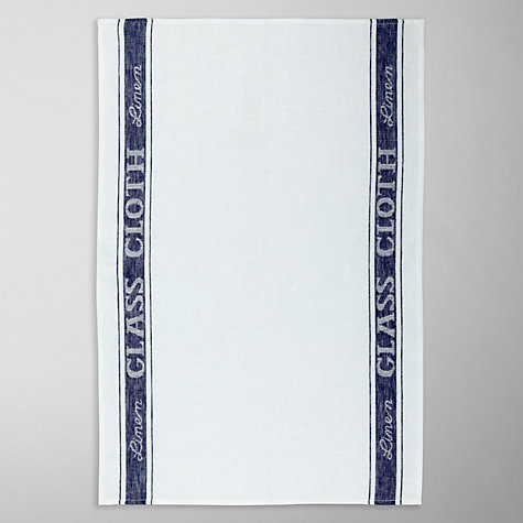 Buy John Lewis Linen Glass Cloth White / Blue Online at johnlewis.com