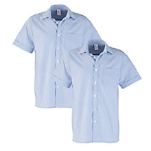 Buy Leehurst Swan School Boys' Short Sleeve Stripe Shirt, Twin Pack, Blue/White Online at johnlewis.com