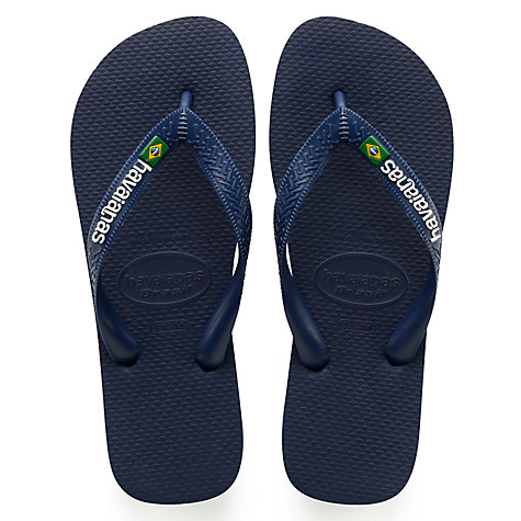 Buy Havaianas Brasil Logo Flip Flops, Navy Blue Online at johnlewis.com