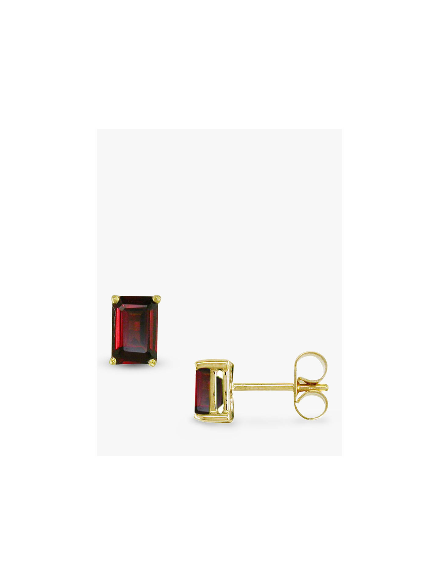 E.W Adams 9ct Gold Garnet Stud Earrings