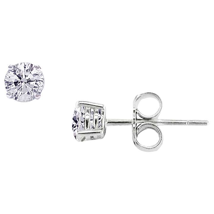 E W Adams 18ct White Gold Diamond Stud Earrings At John