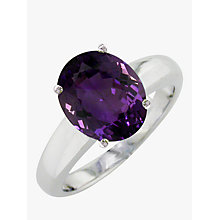 Buy EWA 9ct White Gold Large Amethyst Ring, White Gold Online at johnlewis.com
