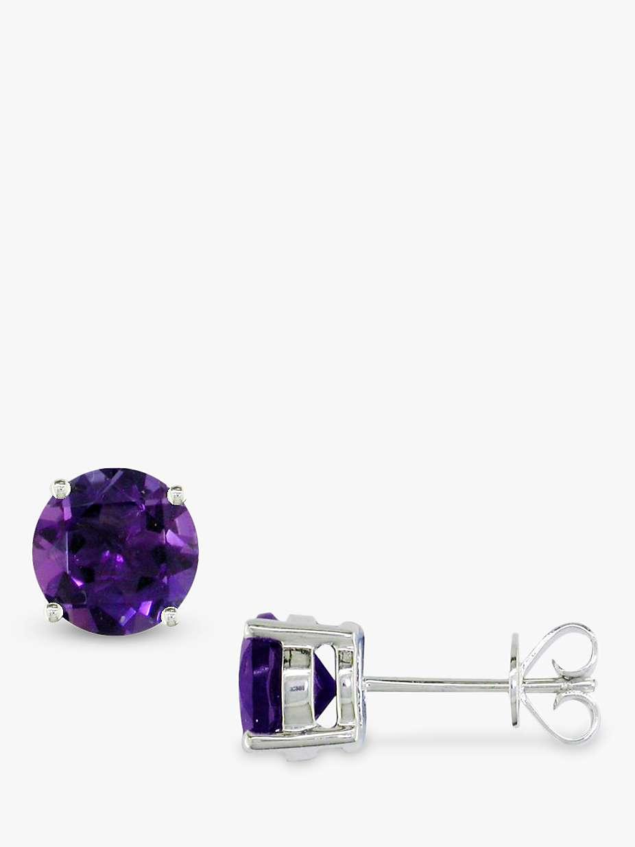E W Adams 9ct White Gold Amethyst Stud Earrings Purple At