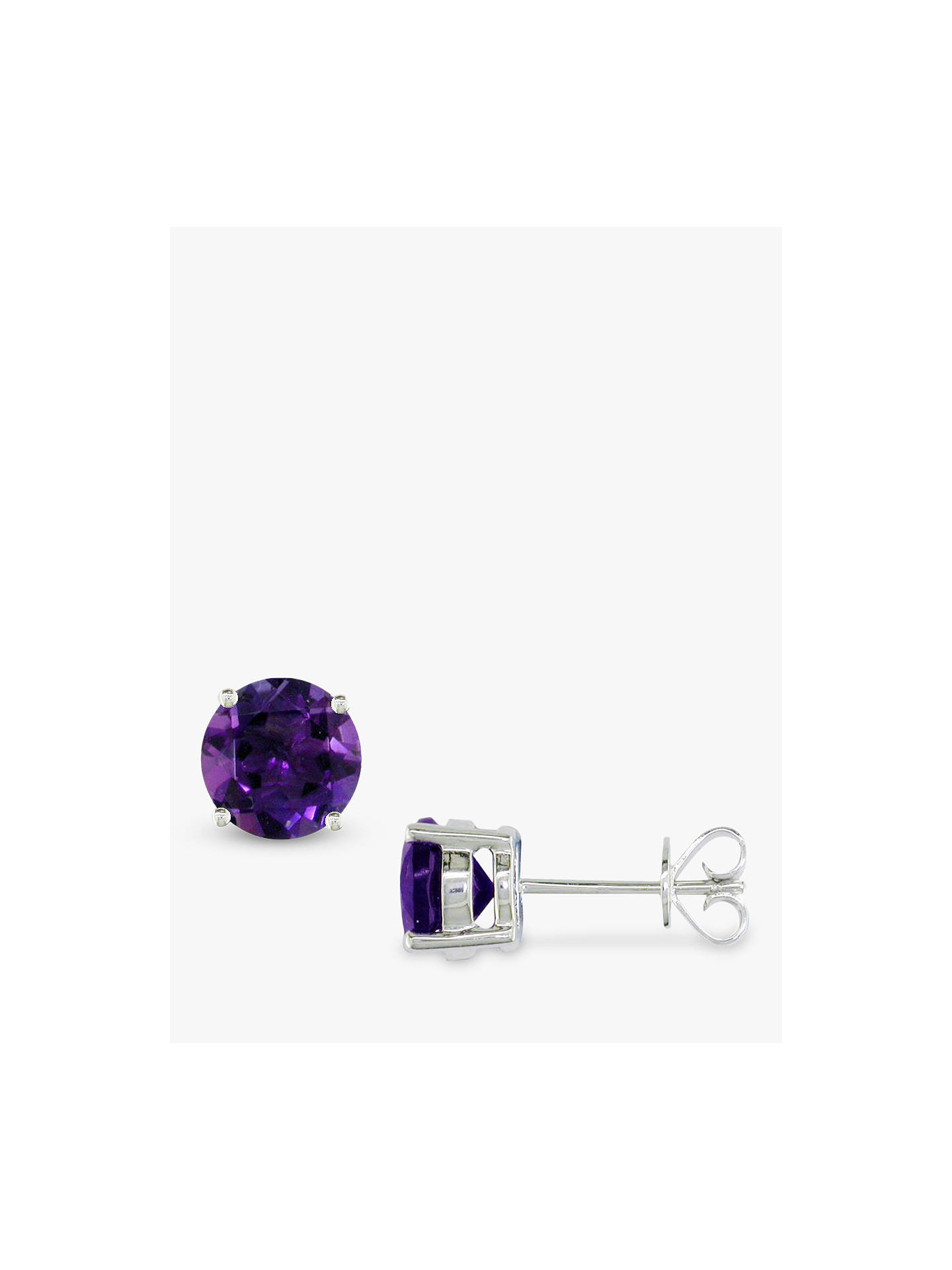 E W Adams 9ct White Gold Amethyst Stud Earrings Purple Online At Johnlewis