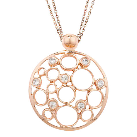 Solid rose gold womens necklaces john lewis buy london road 9ct rose gold diamond bubble pendant necklace online at johnlewis mozeypictures Image collections