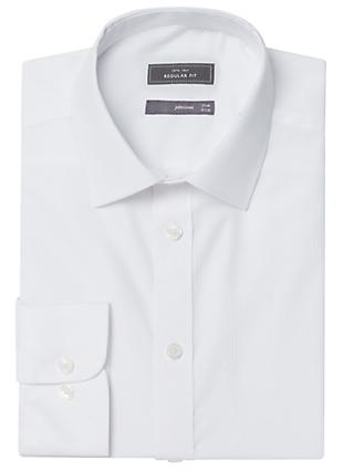 John Lewis & Partners Herringbone Regular Fit Shirt, White