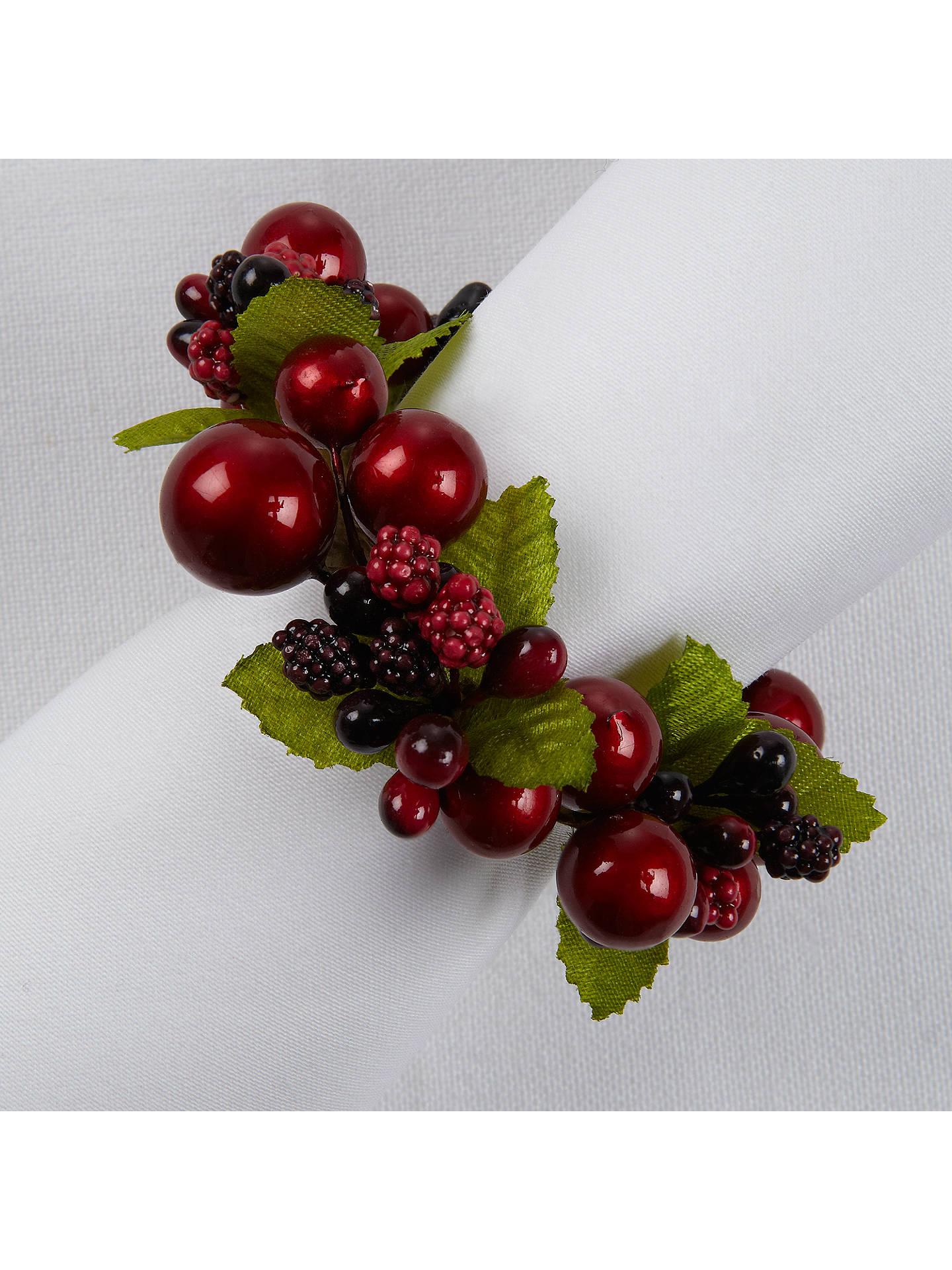 John Lewis Christmas Past Berries Napkin Rings Set Of 4 At John