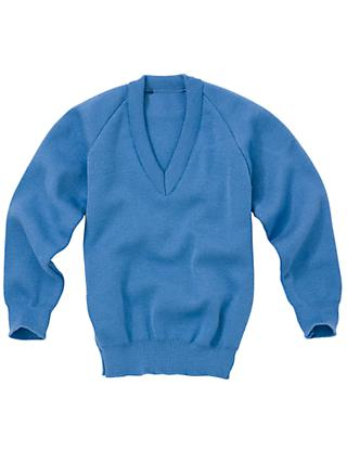 Plain Unisex School V-Neck Jumper, Capstan Blue