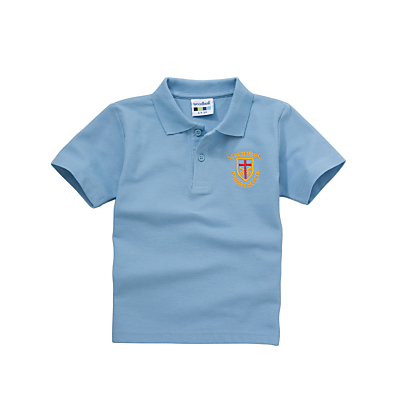 Product photo of St peters rc primary school boys summer polo shirt sky blue