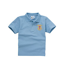 Buy St Peters RC Primary School Boys Summer Polo Shirt, Sky Blue Online at johnlewis.com